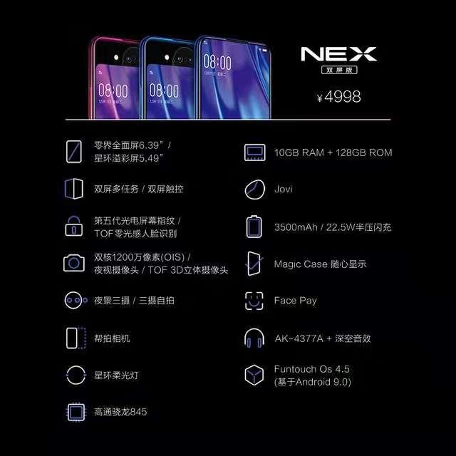 vivo推首款双面屏手机NEX售4998元,12月29日上市
